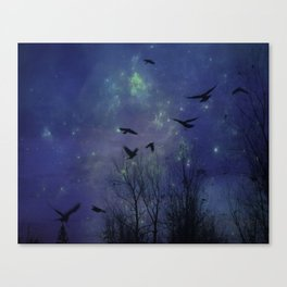 Celestial Night Of Crows Canvas Print