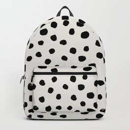 Preppy brushstroke free polka dots black and white spots dots dalmation animal spots design minimal Backpack
