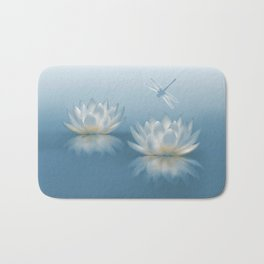 Blue Lotus and Dragonfly Bath Mat