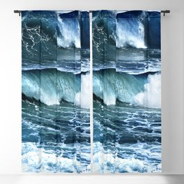 Deep Blue Waves Blackout Curtain