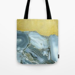 Marble Agate Slices Crystal Geode Abstract Boho Gold and Grey Tote Bag