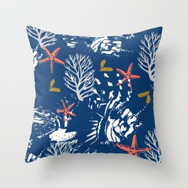 Pattern nautical sea Throw Pillow