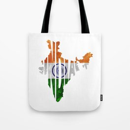 India World Map / Indian Typography Flag Map Art Tote Bag