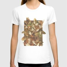 Red-Throated, Black-capped, Spotted, Barred X-LARGE Womens Fitted Tee White