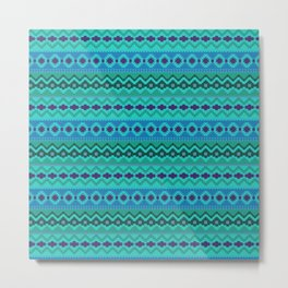 Tribal Aztec Digital Embroidery Metal Print