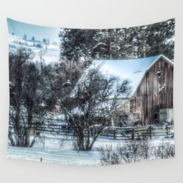 Winter Barn Wall Tapestry