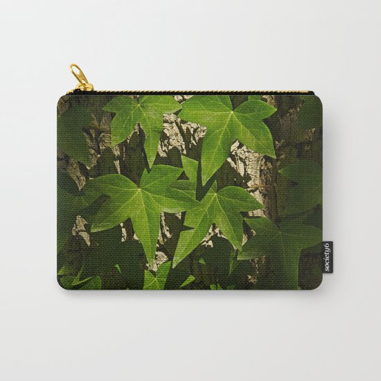 Sunny ivy leafs on a tree bark Carry-All Pouch