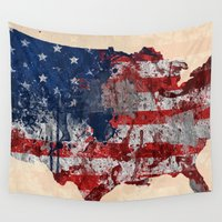 america Wall Tapestries featuring america map  by mark ashkenazi
