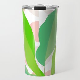 Sunny Banana leaves on Mid Century Modern pattern Travel Mug