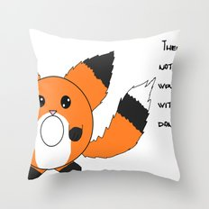 Donut fox  Throw Pillow