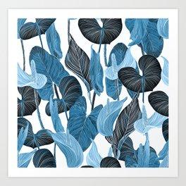 Lush Lily - chambray Art Print