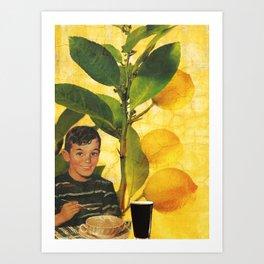 Boy Meal Time  Art Print