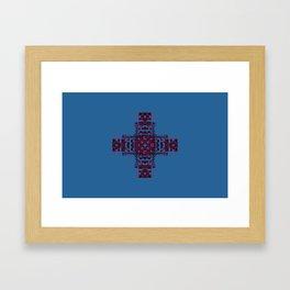 She's Abundantly Blessed Cross on Blue Framed Art Print