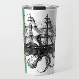 Kraken Attacking ship on Colorful Stripes Travel Mug