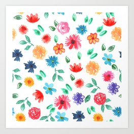 Watercolor cornflower forget-me-not, rose peony green leaves pattern Art Print