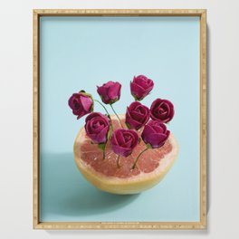 Grapefruit and red roses Serving Tray
