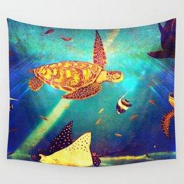 Beautiful Sea Turtles Under The Ocean Painting Wall Tapestry