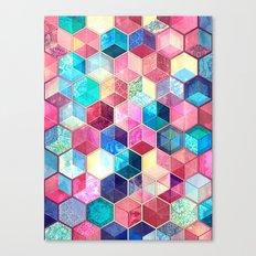 Topaz & Ruby Crystal Honeycomb Cubes Canvas Print