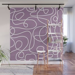 Doodle Line Art | White Lines on Soft Purple Wall Mural