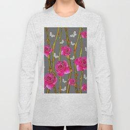 WHITE BUTTERFLIES & PINK ROSE THORN CANES  GREY ART Long Sleeve T-shirt