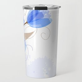 Abstract Blue Watercolor Tulips Travel Mug