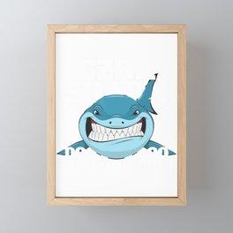 Ezra Baby Shark Kids Funny T-Shirt Framed Mini Art Print