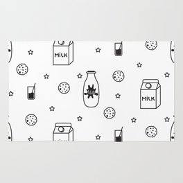 Doodle milk star cookies pattern Rug