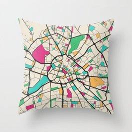Colorful City Maps: Manchester, England Throw Pillow
