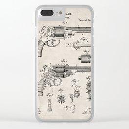 Western Revolver Patent - Antique Firearm Art - Antique Clear iPhone Case