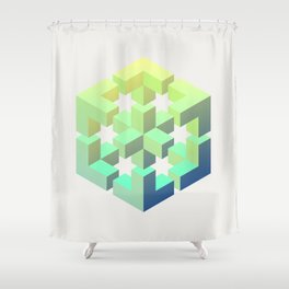 Exploded cube Shower Curtain