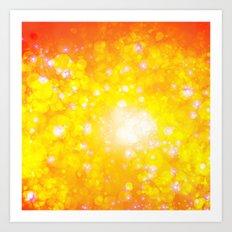 Shimmering Stars Orange Art Print