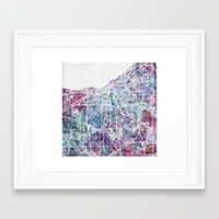 cleveland Framed Art Prints featuring Cleveland map by MapMapMaps.Watercolors