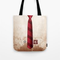 shaun of the dead Tote Bags featuring SHAUN OF THE DEAD by VineDesign