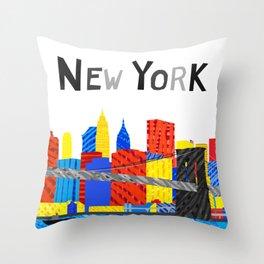 Playful Manhattan Skyline Illustration Throw Pillow
