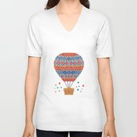 aviation V-neck T-shirts featuring Hot Air Balloon by haidishabrina