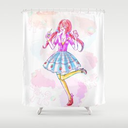 Pastel Unicorn Frap Girl Shower Curtain