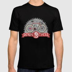 Born To Cycle Mens Fitted Tee Black SMALL