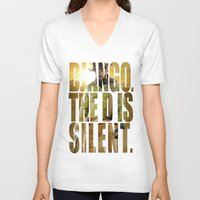 django V-neck T-shirts featuring Django Unchained by SB Art Productions