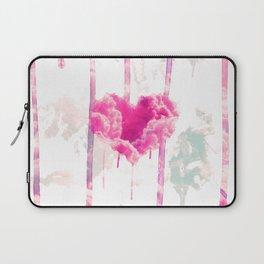 Bleed | Modern Pink Cloud Love Heart Pink Watercolor Drips Laptop Sleeve
