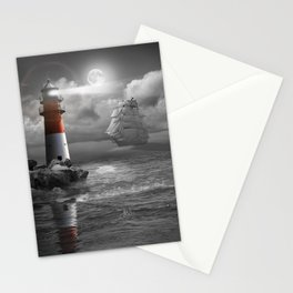 Lighthouse and Sailboat under moonlight Stationery Cards
