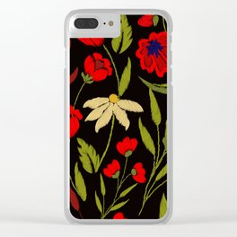 Floral embroidery Clear iPhone Case