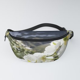 White Flowers and Mountain Pass (Milford Sound) Fanny Pack