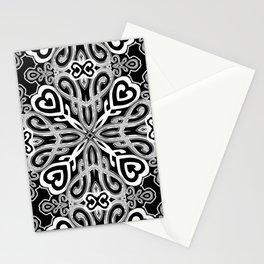 Black+White Ornate Hearts Stationery Cards