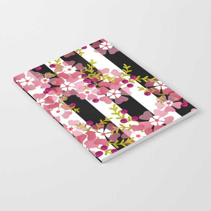 Floral Pattern Black And White Striped Background Notebook By