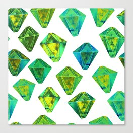 Green gemstone pattern. Canvas Print