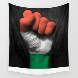 Hungarian Flag on a Raised Clenched Fist Wall Tapestry