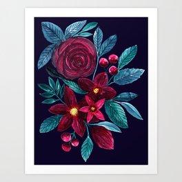Elegant Navy Burgundy Christmas Floral Watercolor Art Print