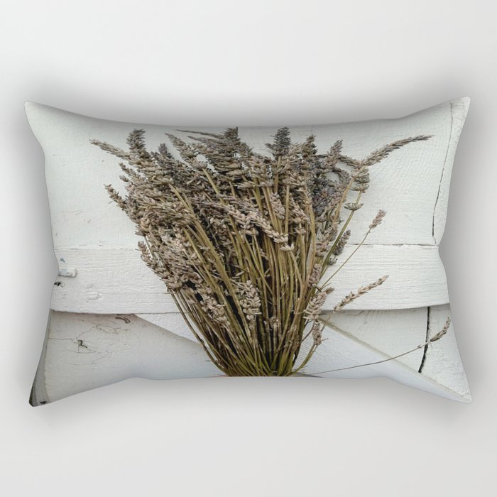 Dried lavender on the fence Rectangular Pillow