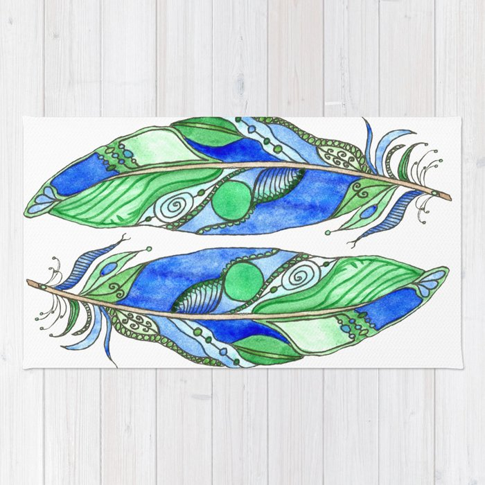 Bohemian Spirit Feathers - Blue & Green Rug