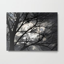 Tree silhouette and clouds Metal Print